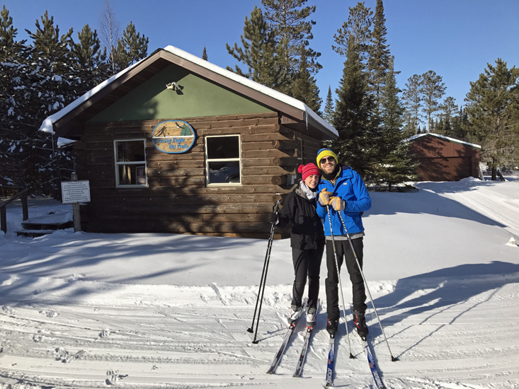 The owners of Half Moon Trail Resort, in Park Rapids, MN are out for a ski at Soaring Eagle Ski Club